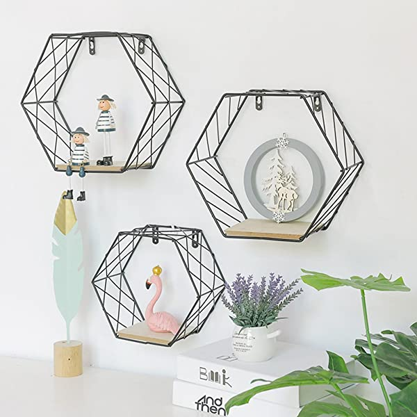 Topaty Geometric Wall Mounted Floating Shelf Metal Wire Hexagon Design Wall Decor For Living Room Bedroom Black Pack Of 1