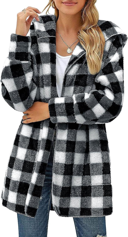 Winter Coats for Women Plush Plaid Long Coat Casual Long Sleeve Tops Blouse Hooded Cardigan Coat