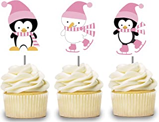 Pink Penguin Cupcake Toppers 12 PCS, Ice Skating Cake Picks for Girls, Winter Wonderland Birthday Party Decorations Supplies, Polar Bear Baby Shower Themed