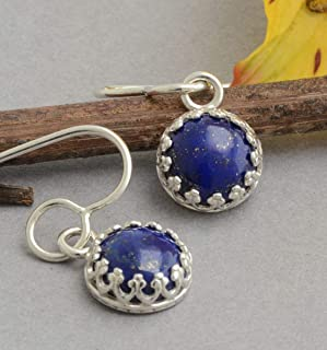 Small sterling silver genuine navy blue lapis lazuli dangle earrings nickel free