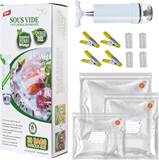 TAILI Sous Vide Bags Kit for Anova and Joule Cookers, 30x (3 Sizes) Reusable Vacuum Sealer Bags, BPA Free Vacuum Food Stor...