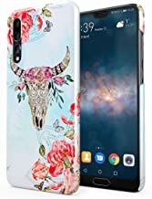 Ornamented Wild Bull Skull with Red Rose Blossoms Hard Thin Plastic Phone Case Cover For Huawei P20 Pro