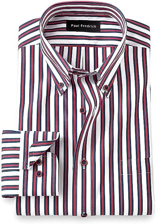 1920s Men's Shirts and Collars History Paul Fredrick Mens Classic Fit Non-Iron Cotton Alternating Stripe Dress Shirt  AT vintagedancer.com