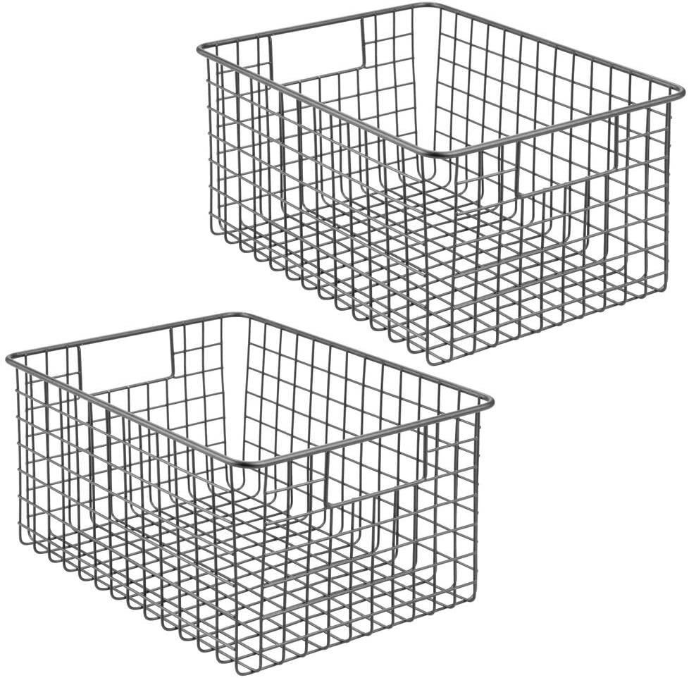 and Hallways Bathrooms mDesign Farmhouse//Vintage Metal Wire Storage Basket Bin with Handles for Organizing Closets Black 2 Pack Entryways Shelves and Cabinets in Bedrooms