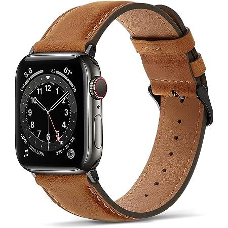 Tasikar Correas para Correa Apple Watch 44mm 42mm Diseño de Cuero Genuino Correa de Repuesto Compatible con Apple Watch SE Series 6 Series 5 Series 4 (44mm) Series 3/2/1 (42mm) - Marrón