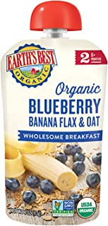 Earth's Best Organic Stage 2 Breakfast Baby Food, Blueberry Banana Flax & Oat, 4 Oz Pouch (Pack of 12)