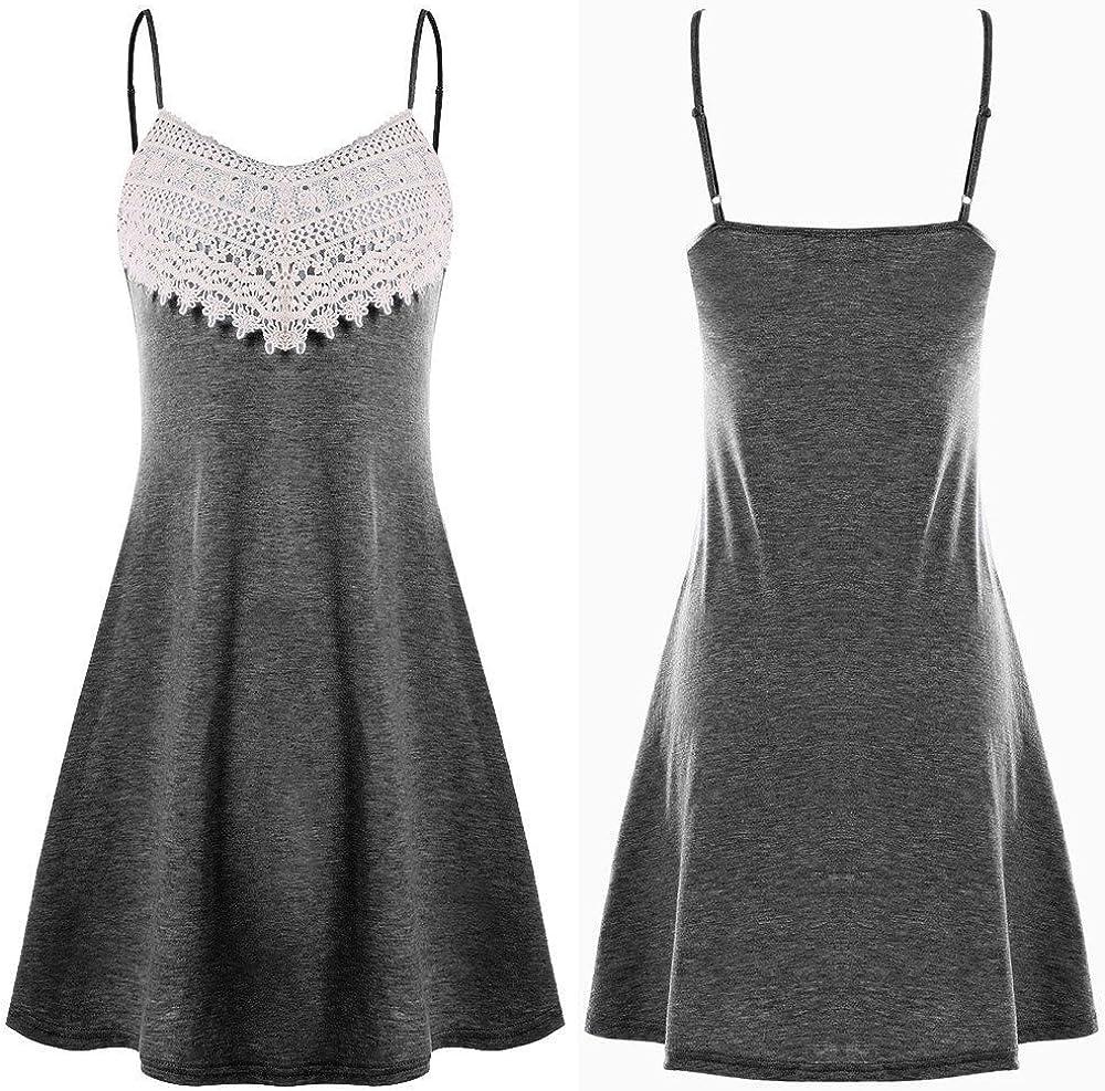 ESAILQ Mode Frauen Häkelspitze Backless Mini Slip Kleid Leibchen Ärmelloses Kleid Tief Grau