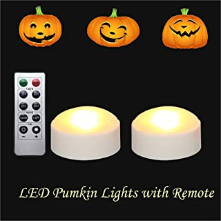 LED Pumpkin Lights with Remote and Timer, Battery Operated Bright Flickering Flameless Candles for Pumpkin Decor, Jack-O-Lantern Halloween Party Decorations,White Color, 2 Pack