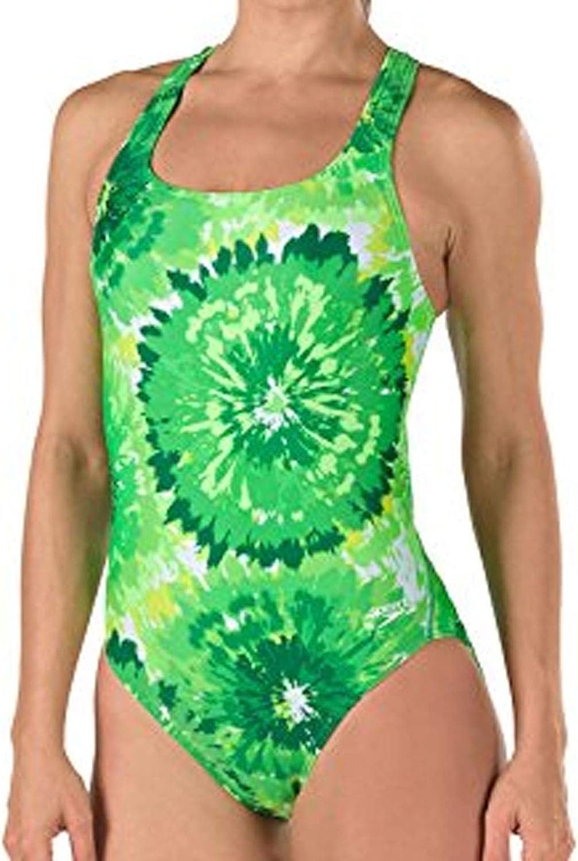 Speedo 7719639 Womens Burst Drop Back Powerflex Eco One Piece Swimsuit, Green (320-003) - 26
