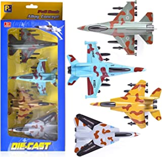 4Pcs Airplane Toys Set Metal Military Themed Aircraft Toys with Pull Back Function 4  Different Designs Perfect Party Favo...