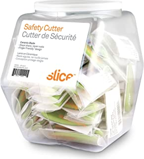 Slice 00200 Safety Cutter, Microscopic Ceramic Blade, Cuts Paper & Coupons, Finger Safe, Green, 48 Pack
