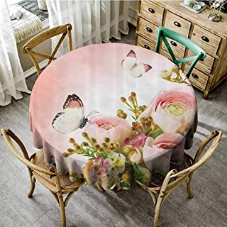 familytaste Polyester Fabric Table Cloths Floral Pink Decor,Roses and Flower Buds Leaves in Bouquet with Butterflies for Mothers Day Girls Print,Light Pink and Green D 70