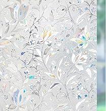 RABBITGOO 3D Decorative Window Films Privacy Static Cling Glass Window Film Non-Adhesive Heat Control Anti UV Flower Patte...