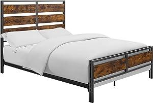 Walker Edison Furniture Company Plank Metal Queen Size Bed Frame Bedroom, Brown Reclaimed Wood
