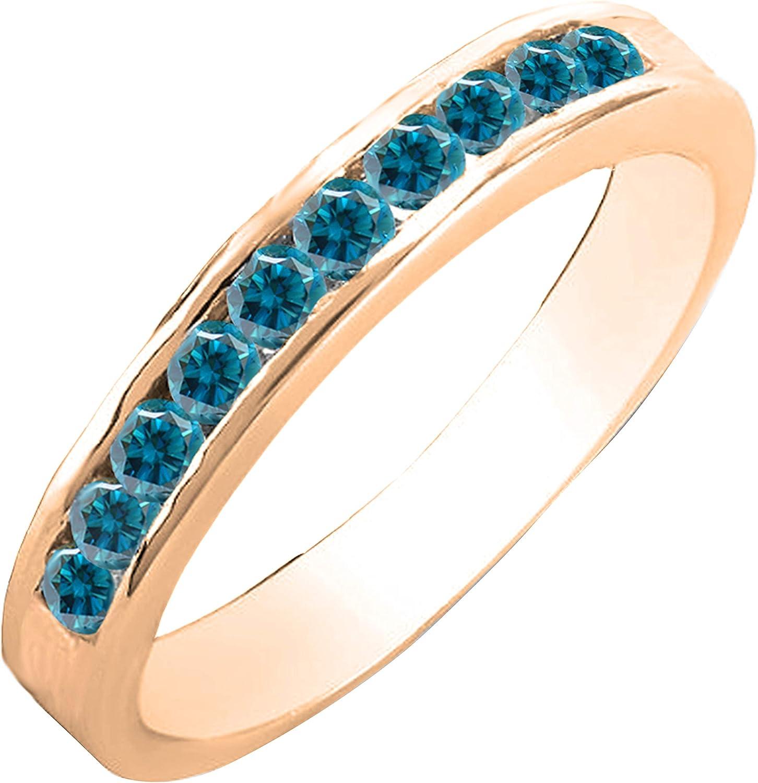 0.40 Some reservation Carat ctw 10K Gold Round Diamond Blue Super special price Ladies Bridal Anniv