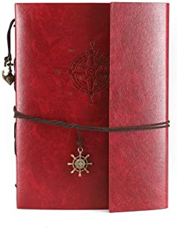 Camilla Baby DIY Photo Album Soft Small Leather Scrapbook Album Personalized Photo Book for Women Travel Graduation Family Anniversary Wedding Gift(Red Small Compass)