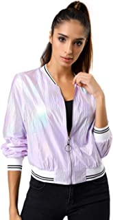 Women's Holographic Shimmering Fashion Stand Collar Metallic Lightweight Zip Bomber Jacket