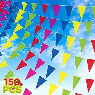 LUTER 80m 150 Piezas Banderines Multicolor Tela De Nylon Triángulo Empavesado Banderas Para Fiesta Festival Celebración Decoración