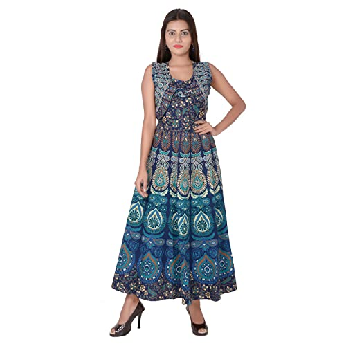 f4a6abc137 Jaipuri Fashionista Cotton Women's Maxi Long Dress Jaipuri Printed with  Atteched Jacket (Free Size Upto
