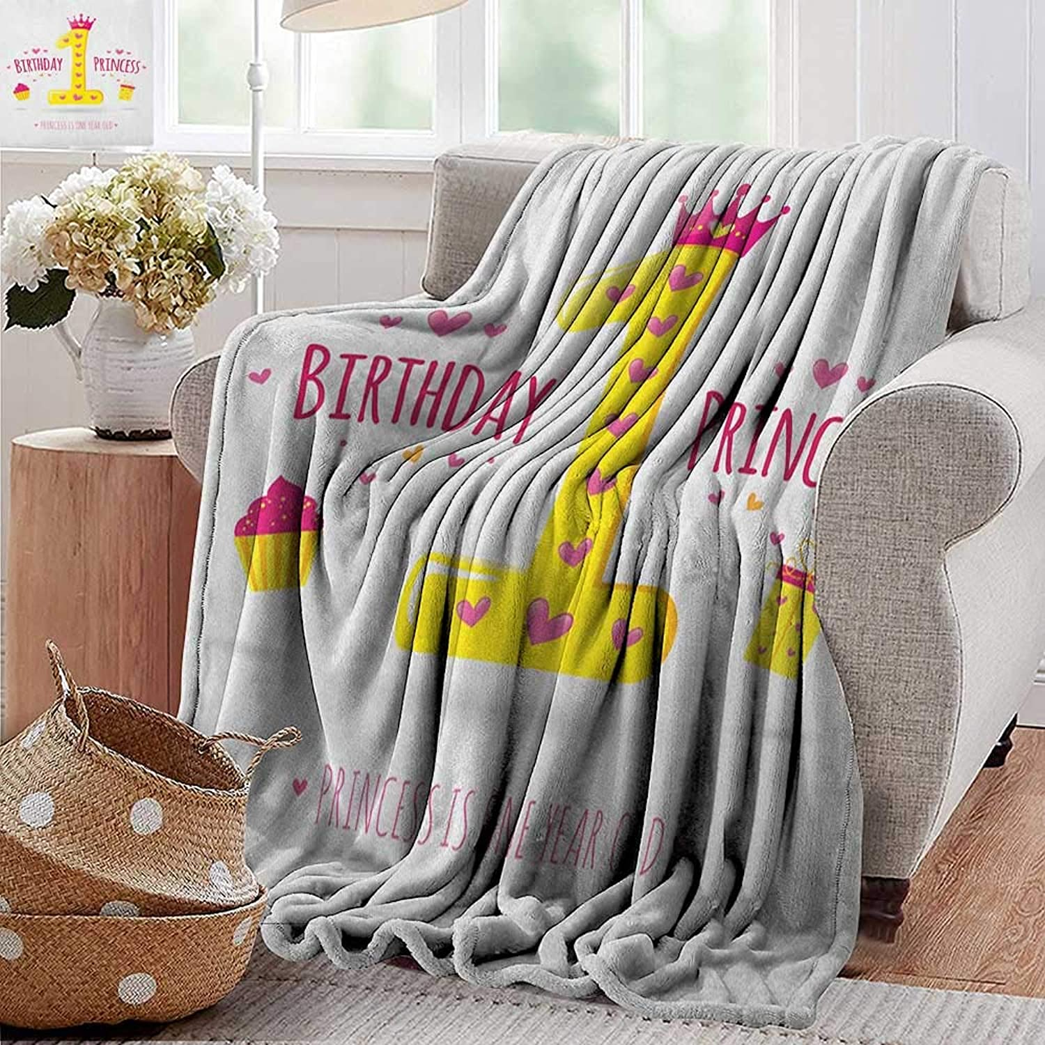 XavieraDoherty Wearable Blanket,1st Birthday,Quote Design with Sweet Princess Girl Theme Party with Hearts Image, Yellow and Hot Pink,Lightweight Microfiber,All Season for Couch or Bed 35 x60