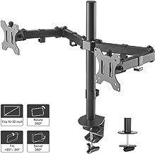 "1home Double Twin Arm Desk Mount PC Computer Monitor Screen Dual Bracket Ergonomic Tilt Swivel Rotation 15""-32""   VESA Dimensions: 75x75-100x100"