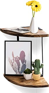 SANDY ANANKE 2-Tier Floating Shelves Wall Mounted, Corner Shelf Wall Mount Shelves Perfect for Pantry Living Room Bedroom Kitchen,Carbonized Black