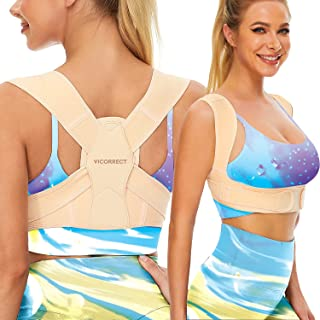 Vicorrect Posture Corrector for Women and Men, Adjustable upper back straightener posture corrector and Providing Pain Rel...