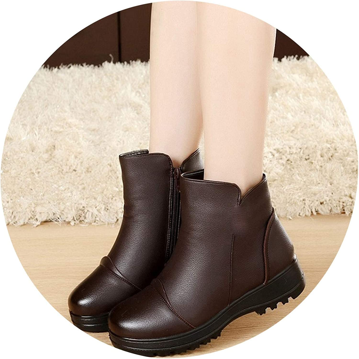Women Winter shoes Woman Genuine Leather Flat Snow Boots Women Warm Ankle Casual Boots