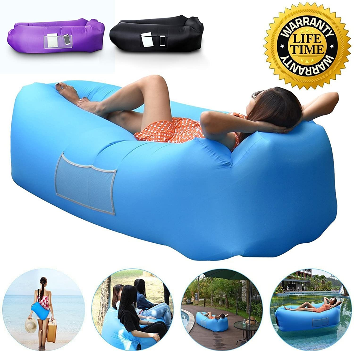 Outdoor Inflatable Lounger Couch Air Sofa Blow Up Lounge Chair with Carrying Bag for Travelling Camping Hiking Park Pool and Beach Parties