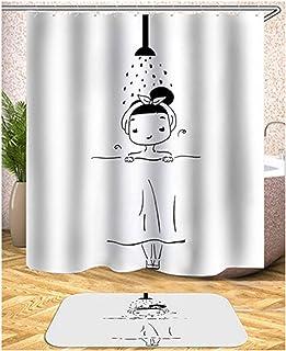 Aokarry Hotel Quality Pongee Shower Curtain for Bathroom Cartoon Pattern Style 8 150X180Cm