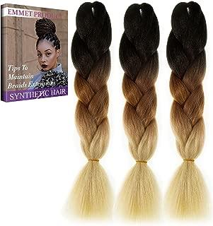 Emmet Jumbo Braids Premium Quality 100% Kanekalon Braiding Hair Extension Ombre 24Inch Heat Resistant, Long Time Using 37 Colors 2 Tone & 3 Tone 3Pcs/lot, with Free Ebook (Ombre Color 19)