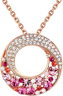 Leafael [Presented by Miss New York Twin Moons Made with Swarovski Crystals Multi-Stone Twisted Circle Pendant Necklace, 18K Rose Gold Plated, 18