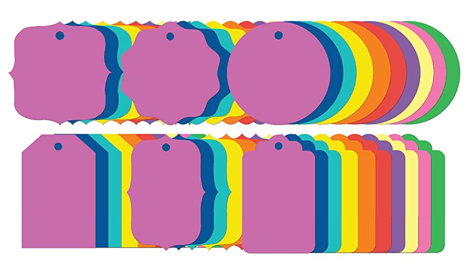Gift Tags - 240 Pieces - Simple Series - 6 Shapes - Multi-Color Paper