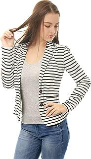 Women's Notched Lapel Pocket Button Closure Striped Blazer