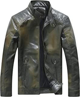Red Leather Jacket Men Casual Camo