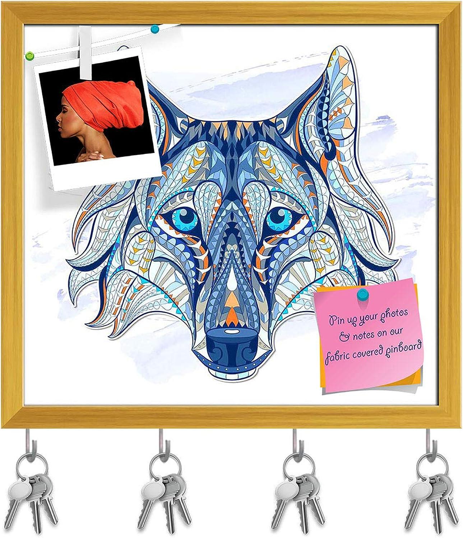 Artzfolio Head of The Wolf Key Holder Hooks   Notice Pin Board   golden Frame 17.3 X 16Inch
