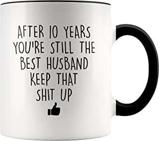 YouNique Designs 10 Year Anniversary Coffee Mug for Him, 11 Ounces, 10th Wedding Anniversary Cup For Husband, Ten Years, Tenth Year, 10th Year