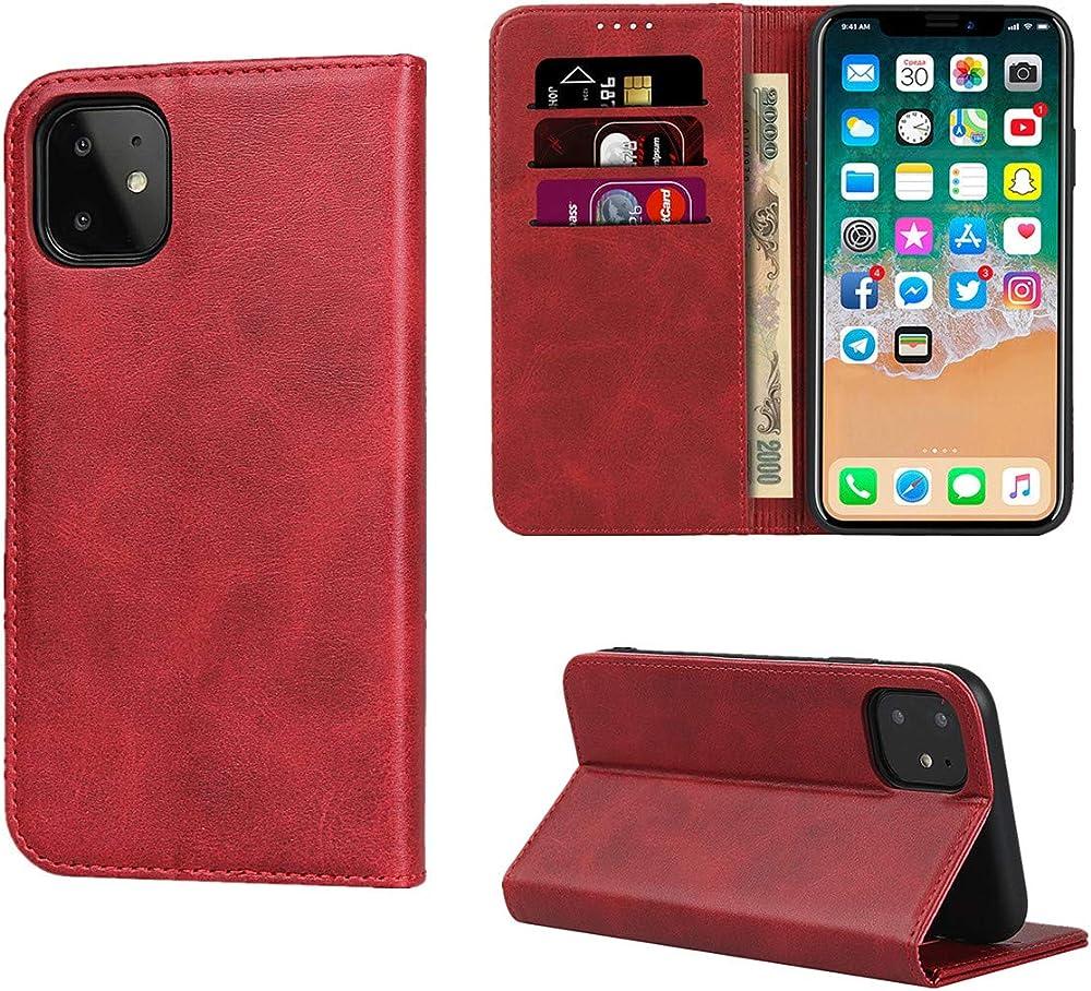Copmob portafoglio porta carte di credito custodia per iphone 11pro in pelle Xnw i12 Red