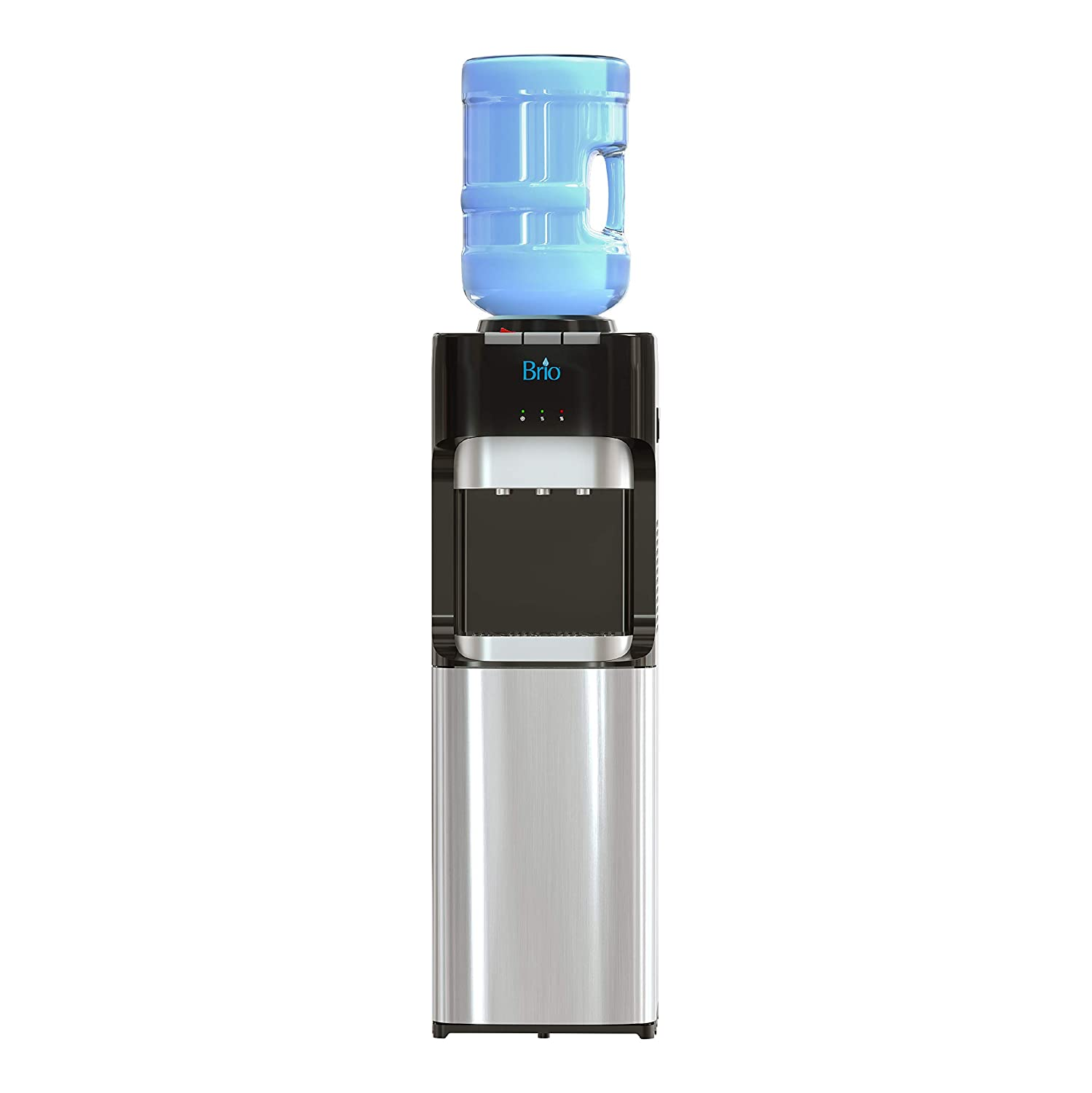 Brio Essential Series Top Loading Water Cooler Dispenser - Tri Temp Dispense, Child Safety Lock, Holds 3 or 5 Gallon Bottles - UL/Energy Star Approved
