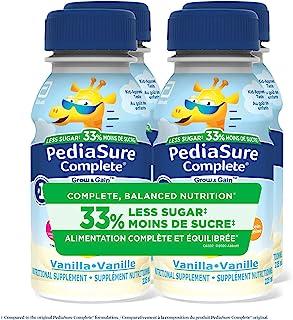 PediaSure Complete® Reduced Sugar, 33% Less Sugar, Nutritional Supplement, 4 x 235 mL, Vanilla - Kids Nutritional Shake, C...