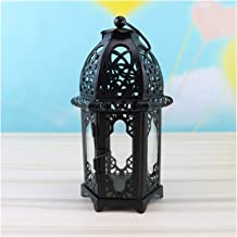 Candlesticks European Candlestick Vintage Hanging Candle Holder Moroccan Glass Candle Lantern Wedding Home Decor (Color : 3)