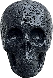 Queenbox Black Lava Skull Statue 2 inch, Volcanic Stone Skull Figurine Carved Crystal Quartz Bone for Home Decoration