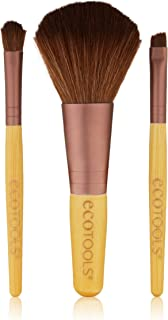 EcoTools Mini Essentials Brush Set, Cruelty Free, Bamboo Handles, Recycled Aluminum Ferrules, Includes: Full Powder, Eye Shading, and Angled Liner Brushes