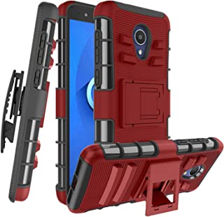 Alcatel 1X Evolve Case/Alcatel TCL LX(A502DL) Case,Alcatel IdealXtra(5059R) W [Built-in Kickstand] Shockproof PC Back &TPU Soft Inner Armor Rotatable Belt Clip Holster, PC-Red