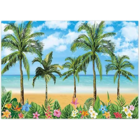 Summer Holiday Backdrop 10x6.5ft Tropical Scenery Photography Background Sunny Blue Sky Cloud Palm Coconut Tree Plants Wooden Man Bird Awning Flowers Wedding Birthday Party Photo Prop Decor