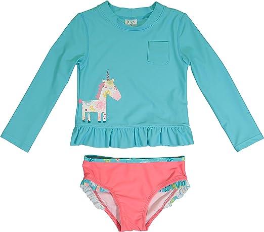 KIKO /& MAX Girls Swimsuit Set with Short Sleeve Rashguard Swim Shirt