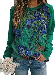 Women's Vangogh Lrises Print Casual Sweatshirt Classic Graphic Blouses Pullover Tops Shirt for Women