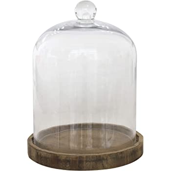 Stonebriar Small 8 Inch Clear Glass Dome Cloche with Rustic Wooden Base, Brown