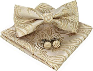 Mens Paisley Bow Tie and Pocket Square With Cufflinks Set