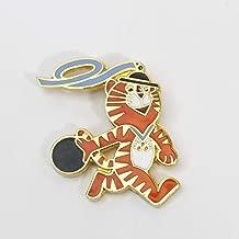 Ln Vintage 1988 HONDORI Tiger USA Team Bowling Mascot Olympic Rings Lapel PIN